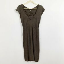 Knitted Knotted Short Sleeve Sweater Dress Cashmere Wool Blend Size XS Brown