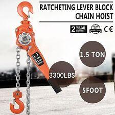 1500KG 5FT Ratcheting Lever Block Lift Chain Hook Hoist Come Along Pulley