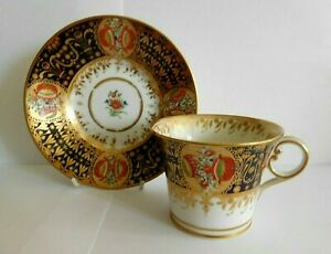 ANTIQUE CHAMBERLAIN WORCESTER BUCKET SHAPE CUP AND SAUCER IN THE YES PATTERN