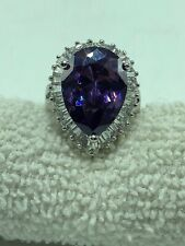 Teardrop Amethyst CZ Ring, Circled in Baguette Shaped  CZ's, Size 7 by Park Lane