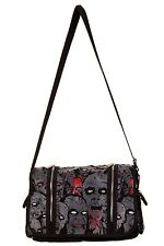 BANNED Schwarz Grau Zombie Army Messenger BAG Psychobilly Horror Punk Goth Rock