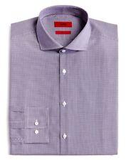 $295 Hugo Boss Men Sharp-Fit Blue White Check Long-Sleeve Dress Shirt 15.5 32/33