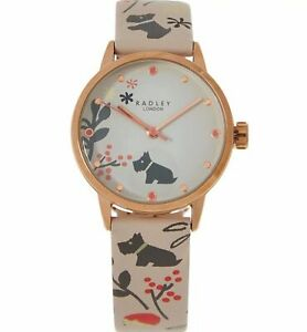 Radley Blush Leather Dog Garden Analogue Watch New boxed RRP £89.95 Battery