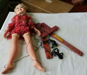 Vintage Hazelle Airplane Controls Marionette Talking Puppet Flapper Pinup Girl