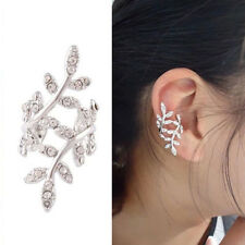1pc Women's Silver Leaves Design Crystal Ear Cuff Bone Clip Fashion Jewelry