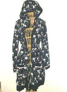 Disney Women's Fleece Short Robe Bathrobe Size Large Black Pink & Gray Hoodie