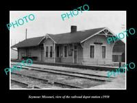 OLD LARGE HISTORIC PHOTO OF SEYMOUR MISSOURI, THE RAILROAD DEPOT STATION c1950