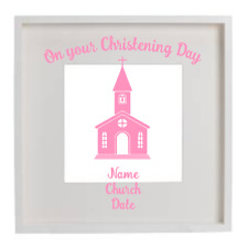 Baby Girl On your Christening Day Vinyl Decal Sticker Box Frame Gift Personalise
