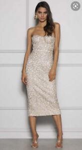 Elle Zeitoune Champagne Gold Evening Elegant Jayce Dress, size 12