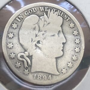 1894-S Barber Half Dollar Fine Condition 127 Year Old Classic American Coin!