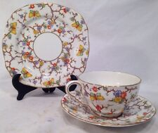 ROYAL STAFFORD TEA CUP & SAUCER Bread Plate trio BUTTERFLY CHINTZ GOLD ~c1930'S