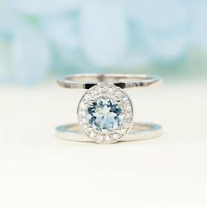 Double Comfor Fit Diamond Halo & Round Aquamarine 14K White Gold Wedding Ring