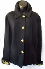ST.JOHN Classic Collection By Marie Gray Black & Gold Wool Knit Blazer Size 10