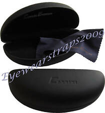 NEW Black Carrini Hard Glasses / Sunglasses Case & Free Lens Cleaning Cloth
