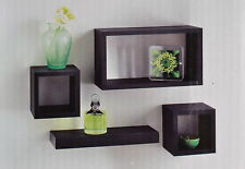 Wall Cube Floating Shelf Display Unit Decorative Cubes Shelves Black Set Of 4