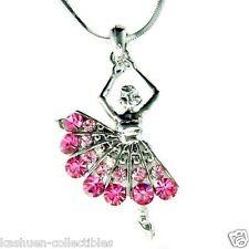 ~Pink Ballerina made with Swarovski Crystal Ballet Dancer Dance Necklace Jewelry