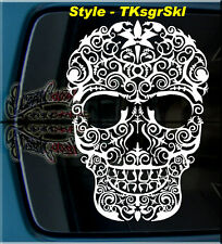 """17"""" TK SUGAR SKULL DAY OF THE DEAD WINDOW VINYL DECAL STICKER DIA DE LOS MUERTOS"""