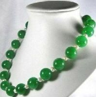 """Beautiful Natural 10mm Green Jade Gemstone Round Beads &White Pearl Necklace 18"""""""