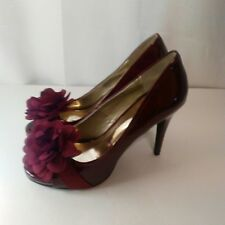 Carlos Santana Cupcake Ruby Red Patent Leather Open Toe Womens Heels Size 7.5