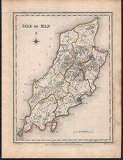 1848 ANTIQUE COUNTY MAP -ISLE OF MAN DOUGLAS PEEL RAMSEY