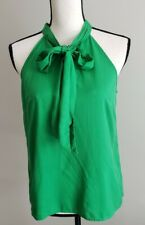 J Crew Green Silk Bow Sleeveless Blouse Top Size 6