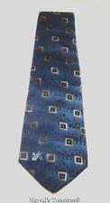 Domani Blue and Gold Geometric Squares Necktie