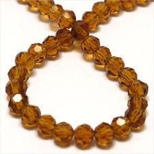 Lot de 50 perles à FACETTES 4mm en Cristal de Bohème Topaze