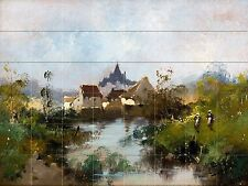 French River Rural Landscape Tile Mural Kitchen Bathroom Wall Backsplash 34x25.5
