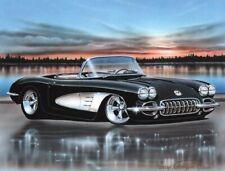 1958 Chevy Corvette Hot Rod Car Art Print Black & White 11x14
