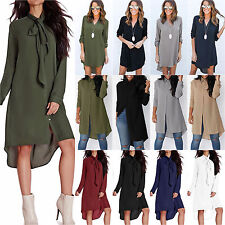Women Boho Chiffon Loose Shirt Dress Casual Long Sleeve Dress Blouse Tops Ladies