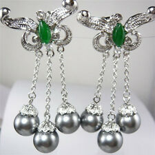 Gray Shell Pearl Beads White Gold Plated Green Jade Butterfly Clip-On Earrings