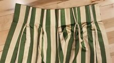 Vintage Silk Green Curtain with Stripes / 1 panel 46'' x 90''