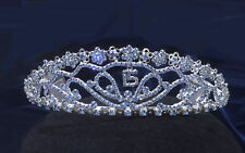 """Blue Rhinestones Sweet 15 Quinceanera Tiara With combs .1.75""""  Height"""