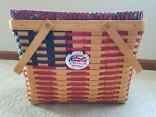 Longaberger 1998 Collectors Club- Patriotic Flag Basket Set- 25th Anniversary