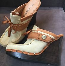 Gwen Stefani L.A.M.B. Euclid Clogs Eur 41 Leather Wedge Heels Shoes Boho Chic