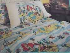 Disney The Little Mermaid Ariel Sheet Set Twin Flat Fitted & Pillowcase New