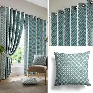 Teal Eyelet Curtains Lined Geometric Jacquard Ready Made Ring Top Curtain Pairs
