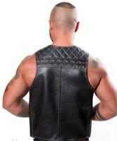 Genuine Leather SPORT QUILTED  BAR VEST Leder Contrast Stitching Cropped mens