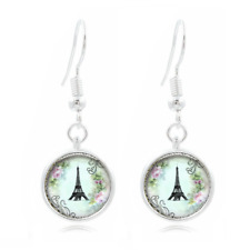 Eiffel Tower glass Frea Earrings Art Photo Tibet silver Earring Jewelry #146