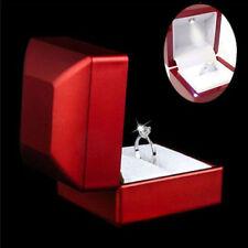 Cherry Polish Diamond Jewelry Ring Box with LED Light Engagement Wedding ZC