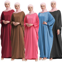 Women Muslim Long Maxi Dress Bat Sleeve Loose Cocktail Kaftan Islamic Abaya Robe