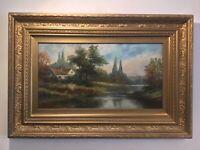 Antique vintage gilt framed original oil painting Fantastic