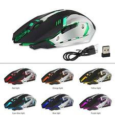 X7 Rechargeable Wireless Backlit Optical Ergonomic USB Gaming Mouse LED Black