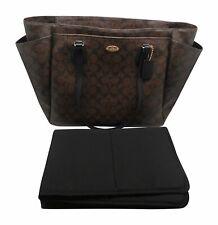 COACH Signature Brown Black Gold Multifunction Tote 35414 Baby Diaper Bag Laptop