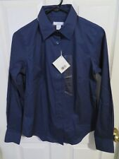 New Women's Lady Hathaway Blue Button Up Long Sleeve Shirt Top Size Small 4/6
