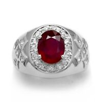 10x8mm Natural Rich Red Ruby Man Ring With White Topaz in 925 Sterling Silver