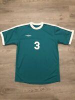 Umbro Mens Soccer Jersey #3 Sz Medium Teal Short Sleeve