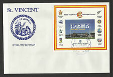 ST VINCENT 2000 LORD'S CRICKET 100th CENTENARY TEST MATCH Souv Sheet FDC