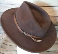 Vintage Dorfman Pacific Wool Felt Western Fedora Hat-Brown Size M/L