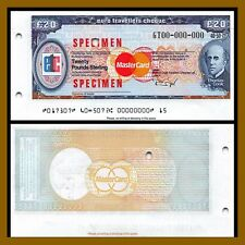 MasterCard Euro Travellers Cheque 20 Pounds Sterling Specimen